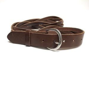 Lands' End Women's Brown Leather Braided Belt